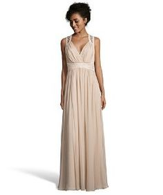 Badgley Mischkasandstone stretch woven beaded waist evening gown