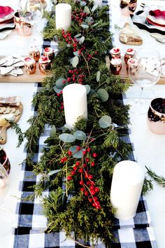 Love this lush tablescape for a woodland Christmas dinner party Favorite Things Holiday Dinner Party Christmas Party Table, Christmas Table Settings, Christmas Tablescapes, Christmas Table Decorations, Xmas Party, Holiday Decor, Holiday Dinner, Christmas Party Centerpieces, Centerpiece Ideas