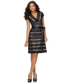 JS Collections Dress, Cap Sleeve V-Neck Ribbon Lace A-Line - Womens Dresses - Macy's