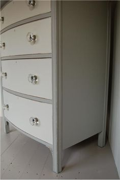 "Have a piece of furniture to re-do? Check out this dresser painted in ""lamp room gray"" and ""wimborne white"". [An inspirational image from Farrow and Ball]"