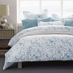 Shadowy white flowers drift across this duvet cover in hies of aqua, teal, lavender, and violet. A tranquil duvet cover woven of wrinkle-free cotton sateen. The Company Store Neutral Bedding, Coastal Bedding, Summer Bedroom, Gray Bedroom, Master Bedroom, Duvet Sets, Bedding Collections, Bed Sheets, Duvet Covers