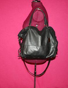 Furla Huge Black Adjustable Leather Tote with Strap and Polka Dot Lining | eBay