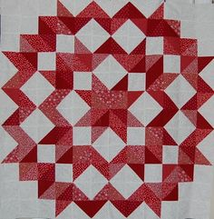 "If each patch were 6 inches, this center medallion would be 72"". Would be a quick quilt, just add a couple of good sized borders to make a king quilt..."