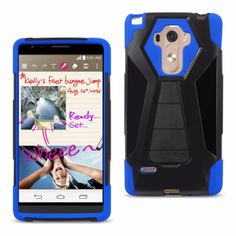 Reiko Silicon Case+Protector Cover For Lg Ls770/G4 Stylus/G Stylo New Type Kickstand Navy Black