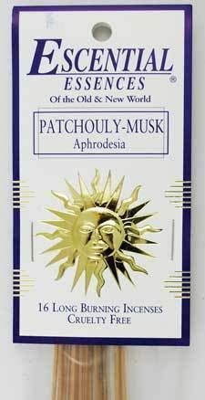 Patchouli- Musk escential essences incense sticks 16 pack Mingling the beloved scents of patchouli and musk, this warm and earthy stick incense is a great way to add to the atmosphere of your home, or help ground energy and empower spells of prosperity and money drawing. Made in USA.  https://shadowsofthemoon.net   #Wicca #shadowsofthemoon #witchy #witchcraft #Wiccan #Pagan #shadowsofthemoondotnet #ilovemywitchyways #altar #Book