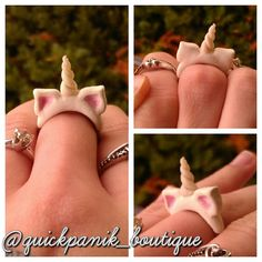 Kawaii, bubble goth, pastel goth polymer clay unicorn brass adjustable ring (:     unicorn ring!!