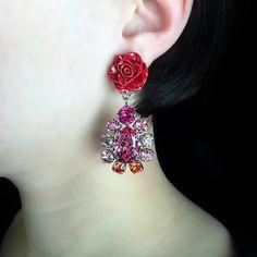 Philippe Ferrandis Red Rose & Crystal Cluster Earrings | Alexandra May Jewellery