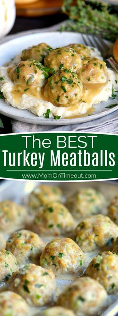 The BEST Turkey Meatballs can be on your table in less than 30 minutes! These baked turkey meatballs are perfectly seasoned and exceptionally delicious. Topped with a simple herbed gravy, they're impossible to resistt! // Mom On Timeout Best Turkey Meatballs, Trader Joes Turkey Meatballs, Turkey Meatball Sauce, Turkey Dishes, Turkey Table, Albondigas, Cooking Recipes, Healthy Recipes, Delicious Recipes