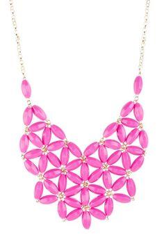 t plus j Designs pink flower bib necklace @ Hautelook