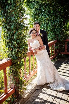 Bride and groom on the front patio of Temecula winery Falkner Winery #storybookweddings