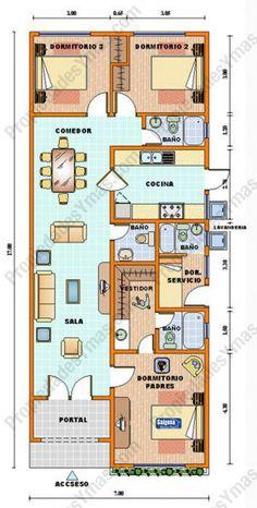 Resultado de imagen para construccion de dormitorios Narrow House Plans, Duplex House Plans, New House Plans, House Floor Plans, Interior Design Living Room Warm, Three Bedroom House Plan, Home Design Floor Plans, House Blueprints, Architecture Plan