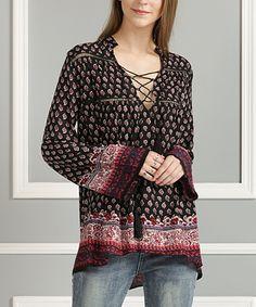 Black & Burgundy Arabesque Lace-Up Tunic - Plus Too