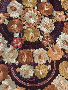 Vintage HUNGARIAN Silk Embroidered MATYO Tablecloth/ Shawl Round Art Nouveau  | eBay Chain Stitch Embroidery, Embroidery Stitches, Embroidery Patterns, Hand Embroidery, Floral Embroidery, Stitch Head, Contemporary Decorative Art, Hungarian Embroidery, Japanese Embroidery