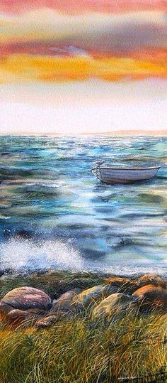 Seagull On A Boat~ Elizabeth Tyler Art