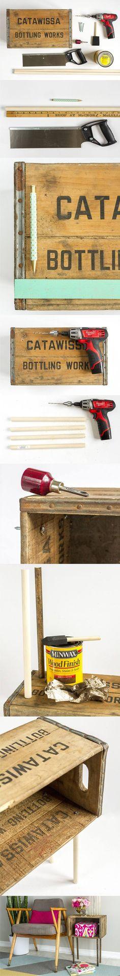 Mesa DIY con una caja - ehow.com - DIY Side Table/Night Stand