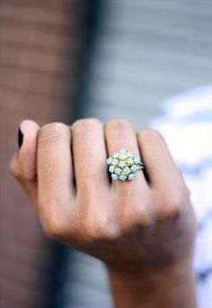 1960's Gold & Turquoise Cluster Ring