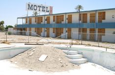 Salton Riviera - in 1905 flooding caused a spill over from the Colorado River that created the largest lake in California. The surrounding area became a holiday resort paradise ...until 1970's when fertilizer runoff caused poisonous gas that killed all the fish. The smell and taste was in the air and people stopped coming abandoning homes, developments, yacht clubs.......