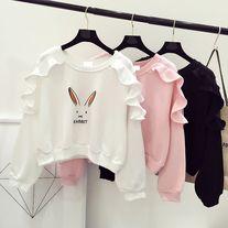 Rabbit print ruffled sweatshirt  http://dejavucat.storenvy.com/products/18396131-rabbit-print-ruffled-sweatshirt  #rabbit #cute #kawaii #sweatshirt #ruffled #pullover #jumper #sweater #blouse #stylish #tops