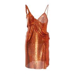 Versace Metal Mesh Slip Dress ($11,995) ❤ liked on Polyvore featuring dresses, orange, orange dress, drapey dress, slip dress, versace dress and mesh dress