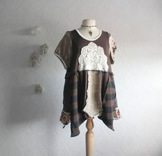 Plus Size Top Upcycled Babydoll  Brown by BrokenGhostCouture