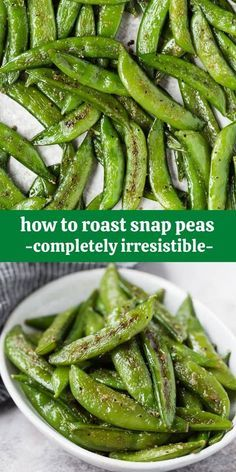 Super sweet and full of flavor, roasted sugar snap peas are like green candy - you won't be able to leave them alone. Try roasting a batch today! Pea Recipes, Side Dish Recipes, Vegetarian Recipes, Cooking Recipes, Healthy Recipes, Dinner Recipes, Veggie Recipes Sides, Veggie Snacks, Roasted Vegetable Recipes
