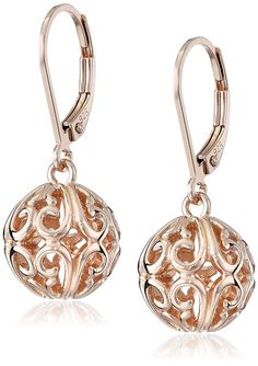 18K Rose Gold Plated Sterling Silver Filigree Ball Dangle Earrings ** Quickly view this special jewelry, click the image : trend jewelry 2016