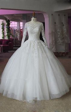 Long Sleeve Wedding Dresses, 2015 Wedding Dresses With Lace Applique