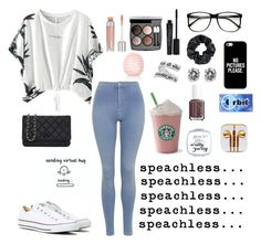 """Speachless"" by ahriraine ❤ liked on Polyvore featuring Topshop, Converse, Smashbox, Chanel, Casetify, Natures Jewelry, CZ by Kenneth Jay Lane and Essie"