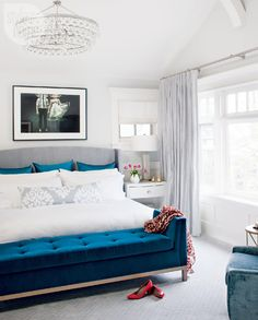 House tour: Cozy and contemporary family home - Style At Home gray white and beautiful blue master bedroom cozy