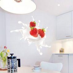Strawberry Splash Sticker. Kitchen Stickers, Kitchen Wall Decals, Strawberry Kitchen, Surface Laptop, Etsy, Windows, Doors, Flat, Home Decor
