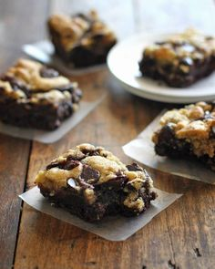 Chocolate chip cookie brownie recipe : http://pinchofyum.com/chocolate-chip-cookie-brownies