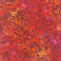 Robert Kaufman Artisan Batiks Posies 3 Flame Garden Daisy Faces