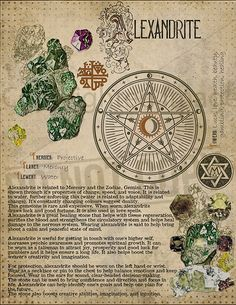 Alexandrite, Book of Shadows printable page. Wiccan Spell Book, Wiccan Spells, Magick, Witchcraft, Crystals And Gemstones, Stones And Crystals, Alchemy, Grimoire Book, Crystal Magic