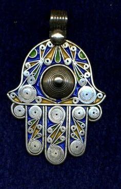 Moroccan silver and enamel hamsa / hand of Fatima pendant.