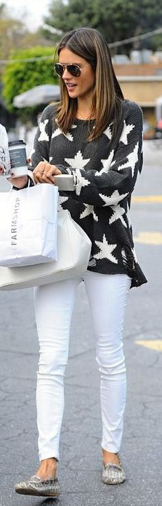 Who made  Alessandra Ambrosio's gray star print sweater?                                                                                                                                                                                 More