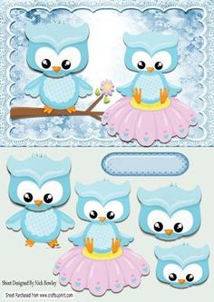 cute owls sitting on a branch and flower on Craftsuprint - Add To Basket!