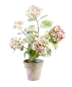 Tole & porcelain color Hydrangea arrangement, 18 in. - All objects are handmade. Flowers are made of porcelain. Tole leaves and stems are made of painted copper. – Vladimir Kanevsky, Fine Porcelain.
