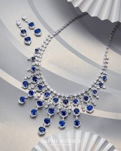 DAVID MORRIS JEWELLERS. Extraordinary cushion cut sapphire necklace accompanied by matching earrings.
