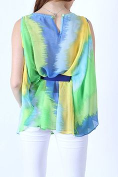 *** New Style ***MULTI COLOR PRINT BUTTERFLY GEORGETTE TOP WITH TIE