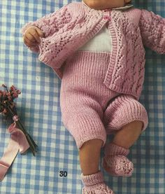Babies Sweater, Pants and Sock Knitting Pattern PDF No.0400 From TimelessOne…