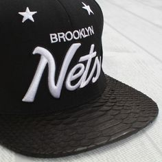 Head Game Sick | Mitchell & Ness x Just Don – Brooklyn Nets Black Python Snapback Cap