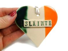 Sláinte Flag Ornament, Ireland Flag, Irish Ornament, Irish Drinking Toast, Irish Housewarming Gift, International Flag, Christmas Ornament