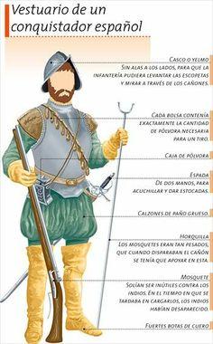 Una representación artistica del vestuario de un conquistador español del siglo XVI, como parecía Cortés.