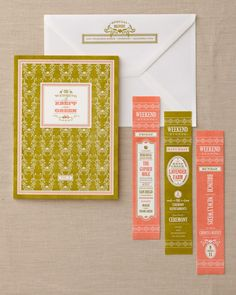 Volume 2 of Amy and Frank's series was the invitation suite, which carried out the color palette of mossy green and bright coral. This larger, more complex book incorporated layers of original textile patterns and hand-drawn florals, all letterpressed into soft cotton paper. Three bookmarks outlined the weekend's events.
