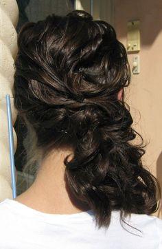 Hair do side low curls