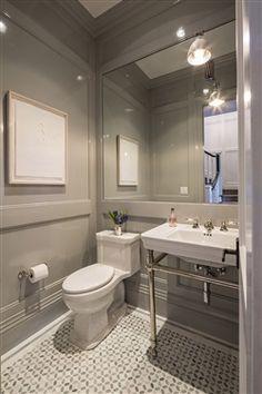 Mirror in powder room Bathrooms