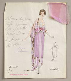 1918 House of Worth sketch: Lithograph and watercolor fashion design on paper. Mauve chiffon tea gown embroidered in white and gold over the sheath of white satin. Fabric samples accompany rendering.