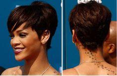 rihanna short hair style, back view Rihanna Hairstyles, Oval Face Hairstyles, Cute Hairstyles For Short Hair, Hairstyles 2016, Hairstyles Pictures, Easy Hairstyles, Hairdos, Rihanna Short Haircut, Rihanna Pixie