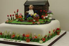Garden Cake Side Detail - All For Garden Birthday Cakes For Men, Garden Birthday Cake, 75th Birthday, Mom Birthday, Birthday Cake Decorating, Cake Decorating Tips, Allotment Cake, Dad Cake, Retirement Cakes