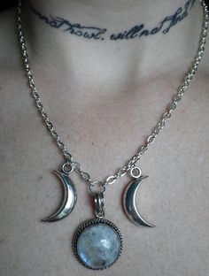 Moonstone Triple Goddess Necklace by lotusfairy (Etsy) — #jewelry #moonstone #necklace